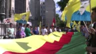 Around 500 people peacefully protest in Paris to show support of Kurds and Yazidis in Iraq who have been victims of attacks by the Islamic State