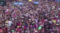 Around one million people are expected at the Cordao de Bola Preta Rios largest street carnival where festival goers march along a band dressed in...