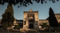 arqueological museum of sevilla timelapse at sunset