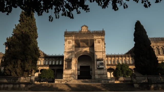 arqueological museum of sevilla timelapse at sunset