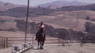 Arriba Vista Ranch, dressage ring, Linda cantors towards camera, circles away