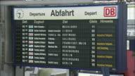 MS Arrival departure board at Munchen Hauptbahnhof (Munich main railway station), Munich, Bavaria, Germany