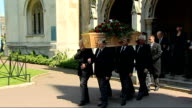 Arrivals and departures at funeral of Gwyneth Dunwoody Clerical procession from church after service followed by coffin and mourners including Jack...