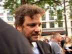 Arrivals at 'Mamma Mia' film premiere Colin Firth interview SOT New level of humiliation Whole film is a funny anecdote/ having to sing a song for...