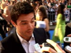 Arrivals at 'Mamma Mia' film premiere Dominic Cooper interview SOT Had no confidence in my vocal talent/ talks about video of him singing 'Money...