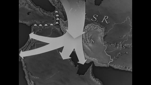 Arrow showing USSR Russia place for possible infiltration invasion / More arrows through Turkey the Mediterranean Iraq Arabia ports of Persian gulf...