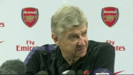 Arsene Wenger press conference Wenger press conference SOT Talks of Aaron Ramsey and the Wales captaincy / talks of the form of West Ham striker Andy...