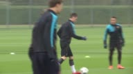 Arsenal football players in training ENGLAND Hertfordshire London Colney INT Arsenal training session with team players including Theo Walcott Alexis...