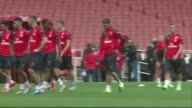 Arsenal hold open training session ENGLAND London Emirates Stadium EXT Various of the Arsenal players taking part in an open training session ahead...