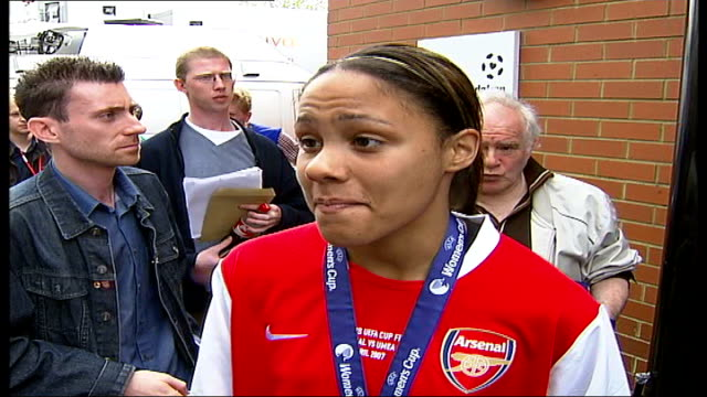 Arsenal Ladies become first British women's team to win UEFA Women's Cup Final Alex Scott interview SOT Mary Philip interview SOT Scott talking to...