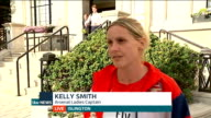 Arsenal Ladies given special reception at Islington Town Hall ENGLAND London Islington Town Hall EXT Reporter to camera Kelly Smith interview SOT...