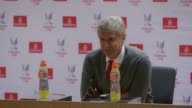Arsenal manager Arsene Wenger speaks at a press conference after winning the Emirates cup on goal difference Wenger says he is pleased with new...