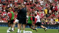 Arsenal players at open training session Training session continued including close shots of Robin Van Persie Cesc Fabregas Gael Clichy and Arsene...