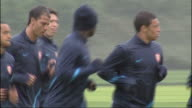 Arsenal squad training prior to game against Udinese ENGLAND Hertfordshire London Colney EXT General views of the Arsenal football squad training...