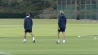 Arsenal team training Arsenal squad jogging / Pat Rice along training pitch PAN Arsene Wenger along / Arsenal squad jogging including Marouane...