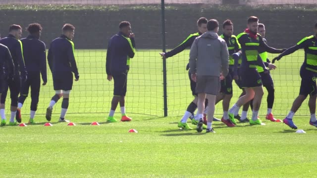 Arsenal training ahead of Tuesday's Champions League game against Bayern Munich Includes shots of Alexis Sanchez who was training again after reports...