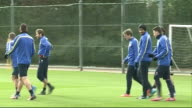 Hertfordshire London Colney EXT Aaron Ramsey and Thomas Vermaelen along / Players on pitch during training session / Arsene Wenger with Per...