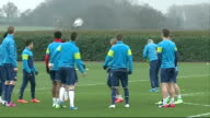 Hertfordshire London Colney EXT Arsene Wenger arriving on pitch / various shots of Arsenal players training including Alexis Sanchez Calum Chambers...