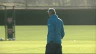 Hertfordshire London Colney EXT General views of Arsenal training session including shots of Arsene Wenger Lukas Podolski Danny Welbeck Olivier...