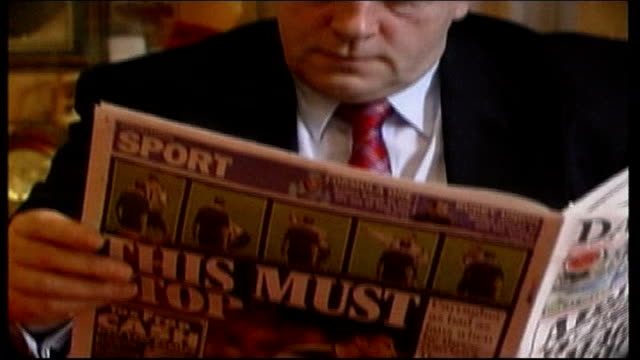 Coin inquiry London Gordon Taylor reading newspaper with story on Carragher coin incident Gordon Taylor interviewed SOT We have pattern of copycat...