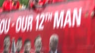 Arsenal victory parade Arsene Wenger with the FA Cup and interview SOT / Mikel Arteta talking to fans SOT / Jack Wilshere talking to fans SOT /...