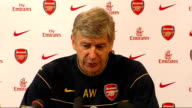 London Colney training centre INT Arsene Wenger press conference SOT On forthcoming match against Sunderland / His views on abuse of players by fans...