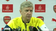 London Highgate INT Arsene Wenger press conference SOT On Thierry Henry coaching youth team members / on racist incident in Paris with Chelsea fans /...