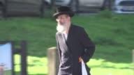 Art project in jewish neighbourhood backfires with accusations of Antisemitism ENGLAND London Stamford Hill EXT Hasidic Jewish man along Jewish men...