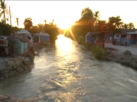 Artibonite River at sunset suspected as being the source of the cholera outbreak following the devastating earthquake