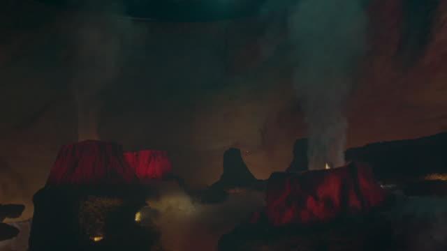Artificial volcanoes erupt.