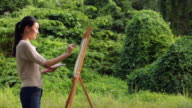 MS Artist painting on an easel in a forest.