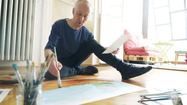 Artist painting while sitting on the floor.