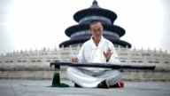 LA Artist playing the Guqin in Temple of Heaven in Beijing, China
