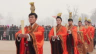 MS TS Artists dressed in tang dynasty costumes and showing traditional ceremony during Chinese spring festival AUDIO / xi'an, shaanxi, china