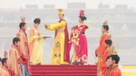 MS Artists dressed in tang dynasty costumes and showing traditional ceremony during Chinese spring festival AUDIO / xi'an, shaanxi, china