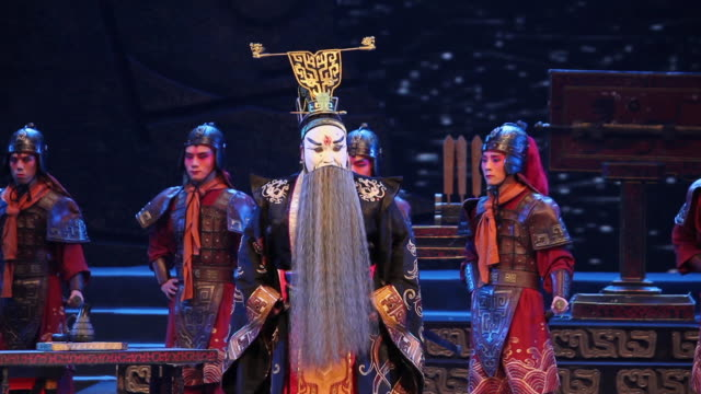 MS Artists performing local Chinese traditional qinqiang opera on stage / xi'an, shaanxi, china