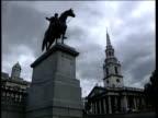 Trafalgar Square 4th Statue Trafalgar Square Statue LA Ditto LA Church steeple LA Nelson's Column with lion in f/g LA PAN 'Ecce Homo' ZOOM IN