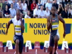 Asafa Powell and Maurice Greene go head to head in Men's 100m Powell narrowly wins Greene congratulates Powell on victory 2004 Crystal Palace...