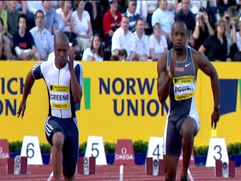 Asafa Powell and Maurice Greene go head to head in Men's 100m Powell narrowly wins Greene congratulates Powell on victory 2004 Crystal Palace...