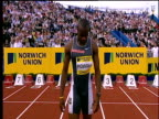 Asafa Powell is introduced to crowd before race Men's 100m Heats 2004 Crystal Palace Athletics Grand Prix London