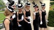 Ascot Ladies Day Women in black and white dresses singing SOT
