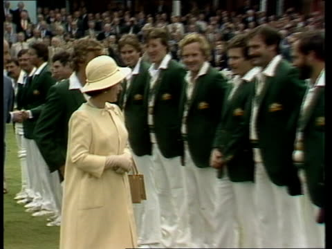 Queen Elizabeth meets Australia and England teams ENGLAND London Lord's Cricket Ground Queen Elizabeth greets Australian Cricket Team on pitch ahead...