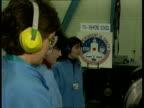 Ashford school experiment ENGLAND BAe MS Ashford school pupils standing watching as their experiment undergoing vibration test CMS SIDE girls LA CMS...