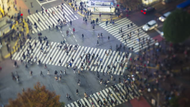 Asia, Japan, Tokyo, Shibuya, Shibuya Crossing - crowds of people crossing the famous crosswalks at the centre of Shibuyas fashionable shopping and entertainment district - elevated view