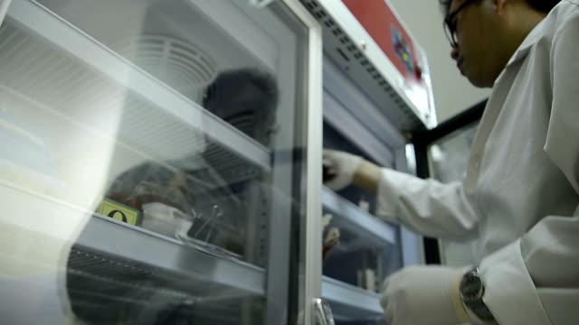 Asia medicintekniker man gör kvalitetskontroll av blod väska under lagring kylskåp i laboratoriet sjukhus