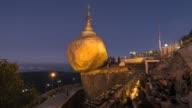 Asia, Myanmar, Kyaiktiyo Pagoda, or Golden Rock, at sunrise