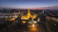 Asia, Myanmar, Yangon, elevated view of skyline and Sule Pagoda, in middle of road intersection
