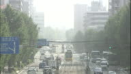 Asian dust obscures a busy street in Kumamoto, Japan.
