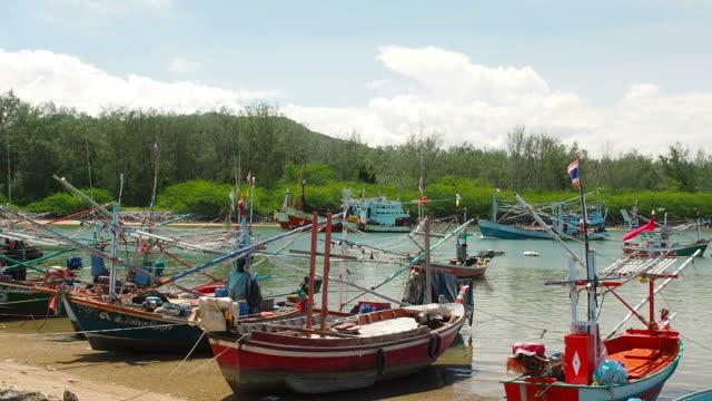 Asian fishing boats moored