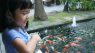 Asian girl feeding food for carp fish in pond